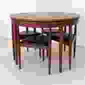 """1960s """"Roundette"""" Teak Dining Table w/4 Chairs by Hans Olsen for Frem Røjle"""