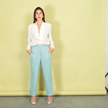 80s Light Powder Blue Pants Vintage High Rise Wool Pastel Trousers by AppleBranchesVintage