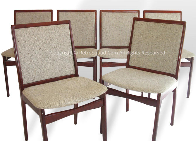 6 Danish Modern Rosewood & Upholstery Side Dining Chairs, Vintage Text Call Offeres 571 330 0810 by RetroSquad