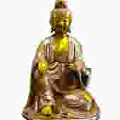 Silver Coating Golden Gilt Chinese Kwan Yin Statue vs931E by GoldenLotusAntiques