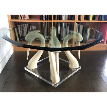 Vintage Boho Lacquer Coffee Table Swans & Glass