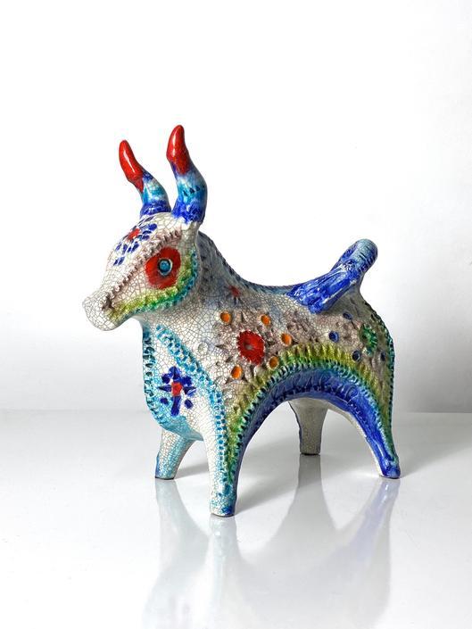 Rare Alvino Bagni Bitossi Pottery Confetti Jewel Glaze Bull Sculpture 1960s by 20cModern