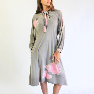 Vintage 70s Leonard Paris Light Gray and Pale Pink Silk Floral Print Pocket A Line Shift Dress    100% Silk   1970s French Designer Dress by TheVault1969