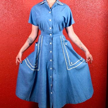 1940s Nautical Dress Chambray Blue with Stars by THEGIRLCANTHELPITUSA