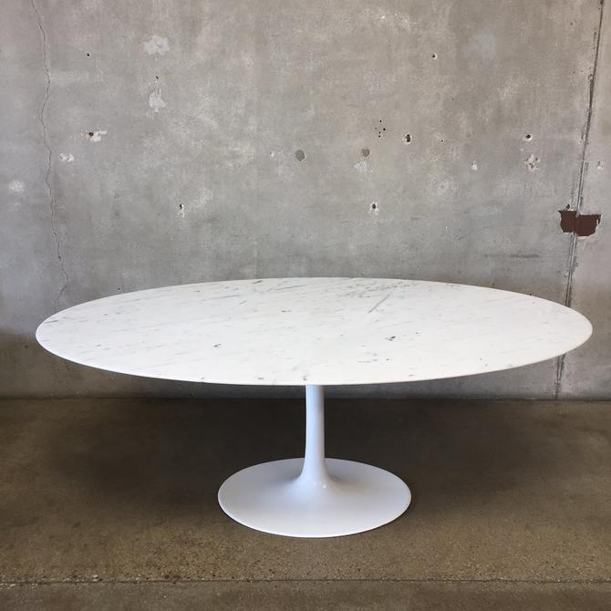 Oval Tulip Dining Table With Marble Top In The Style of Knoll Design