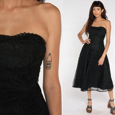 Black Lace Dress 80s STRAPLESS Prom Dress Black Midi Dress Bow Party Formal Dress Vintage Goth Small by ShopExile