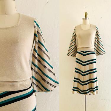 vintage 70's chevron stripe 2 piece set // 70's knit top & skirt set by HarlowsVintage