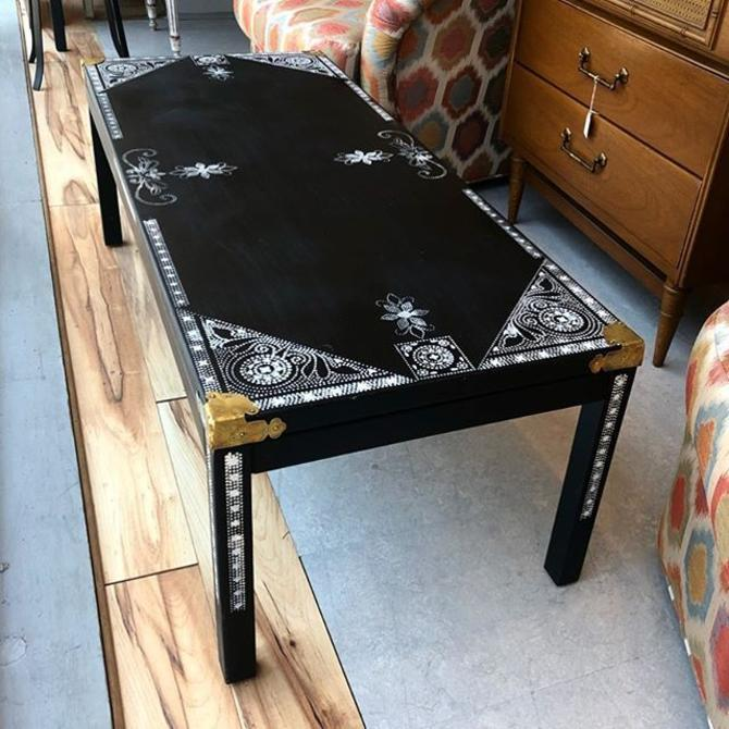 Super cool black and white stenciled coffee table with brass details! $225!