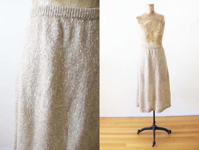 Vintage 70s Mohair Knit Skirt S M - 1970s Tan Beige High Waist Midi Skirt - Cozy Fall Skirt - Cottagecore Skirt - 70s Boho Clothing by MILKTEETHS