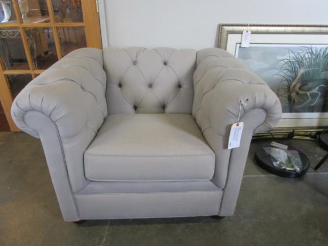 POTTERY BARN TUFTED CLUB CHAIR IN LIGHT GREY LINEN