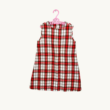 Vintage Mod Toddler Kids Red & Brown Checkered Tunic Dress by SonjloStudio