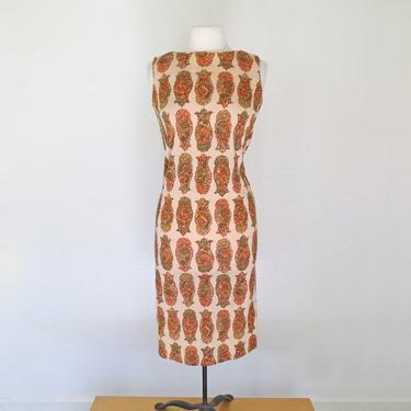 1960s fitted poly day dress with paisleys by flutterandecho
