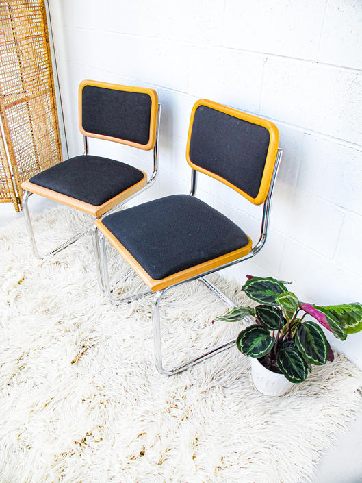 6 Vintage Marcel Breuer Style Chairs in a Blonde Stain with Black Canvas Fabric Seats (SOLD SEPARATELY) by PortlandRevibe