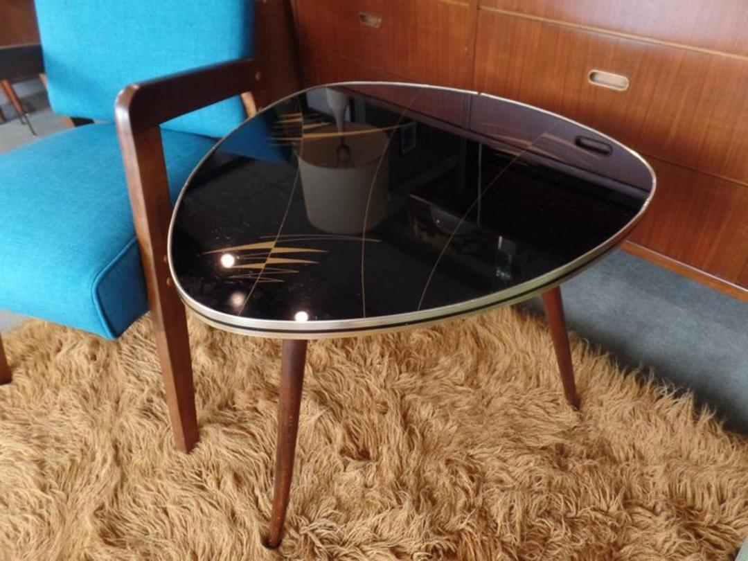 Mid Century Modern Guitar Pick Side Table With Reverse