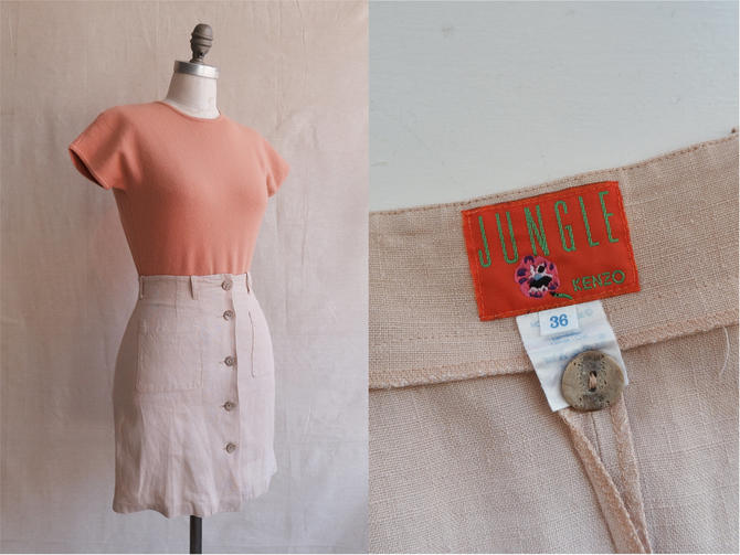 Vintage 90s Kenzo Linen Mini Skirt/ 1980s Patch Pocket Button Up Ecru Skirt/Kenzo Jungle/ Size XS 25 by bottleofbread