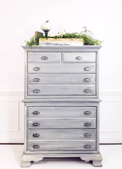 Available - Coastal Farmhouse Chest on Chest Dresser, vintage solid wood dresser by AminiDesignAshburn