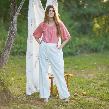 70s White High Waisted Knit Pants Vintage Elastic Straight Leg Classic Trousers by AppleBranchesVintage