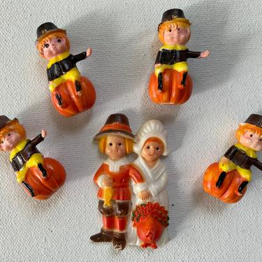 Vintage Thanksgiving Cake Toppers, Pilgrim Cupcake Toppers, Plastic Thanksgiving Cake Decor, Boys On Pumpkins, Party Decor by luckduck
