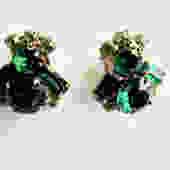 Mid Century Green Rhinestone Bee Earrings by LegendaryBeast