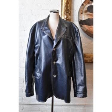 1990's | Todd Oldham | Navy Waxed Denim Jacket by LadyofLizard