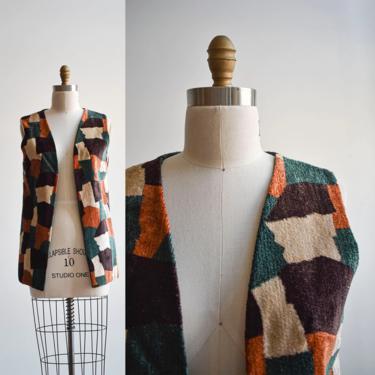 1970s Velour Abstract Hippie Vest by milkandice