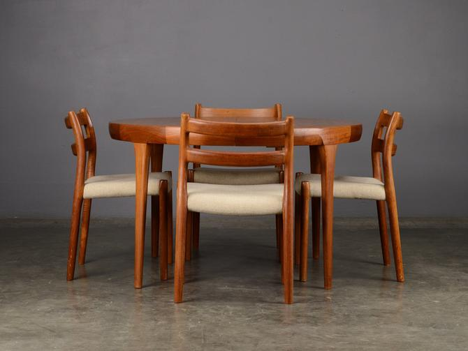 Mid Century Teak Dining Set Table and 4 Chairs Danish Modern by MadsenModern