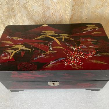 Vintage Japanese Jewelry Box, Black Lacquer Music Box, Asian Jewel Box With Twirling Ballerinas And Key, Japan, Inlaid Abalone by luckduck