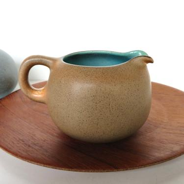 Heath Ceramics Creamer In Nutmeg and Turquoise, Edith Heath Small Pitcher in Aqua and Brown by HerVintageCrush