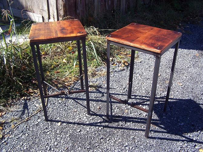 FREE SHIPPING! The Brandywine Urban Style Reclaimed Wood Bar Stool with Industrial Metal Legs and Railroad Spike Foot Catchers by BarnWoodFurniture