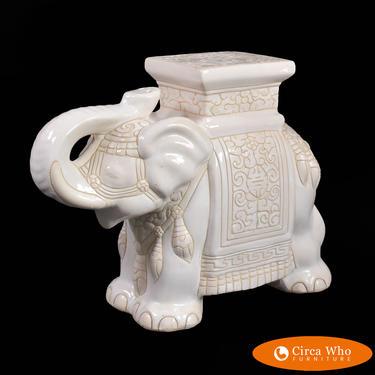 White Ceramic Elephant Stool