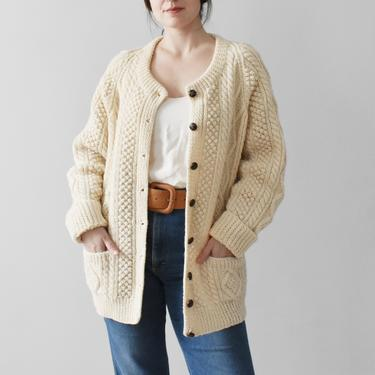 vintage wool fisherman cardigan / cable knit aran sweater / L by ImprovGoods