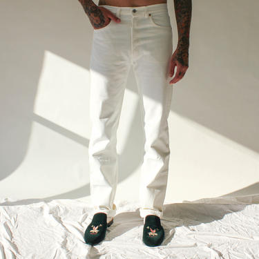Vintage 80s 90s Levis 501 White Button Fly Jeans | Made in USA | Size 33x36 | UNWORN DEADSTOCK | 1980s 1990s Levis High Waisted Denim Pants by TheVault1969