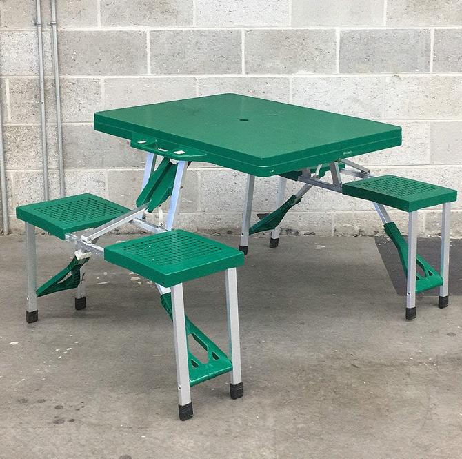 Vintage Folding Picnic Table Retro 1990s Camping + Green Plastic + Silver Metal Frame + Folds Up + Table and 4 Chairs + Outdoor Dining by RetrospectVintage215