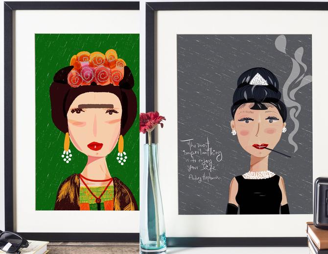 Any 2 Art Prints from Icon Series - Famous Women Prints - Wall Art - Iconic Women -Office Art-Feminist Illustration-Inspiring Women -Fan Art by VioletredStudio