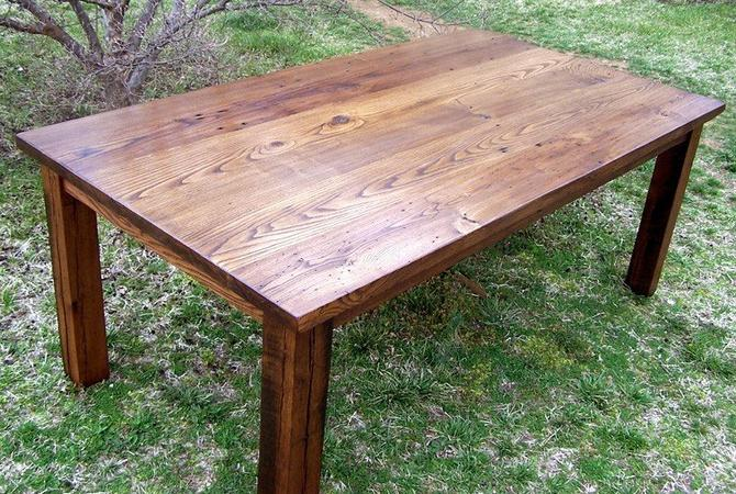 FREE SHIPPING! Wormy Chestnut Thick Plank Farm Table Bunkhouse Style Heirloom Craftsmanship by BarnWoodFurniture