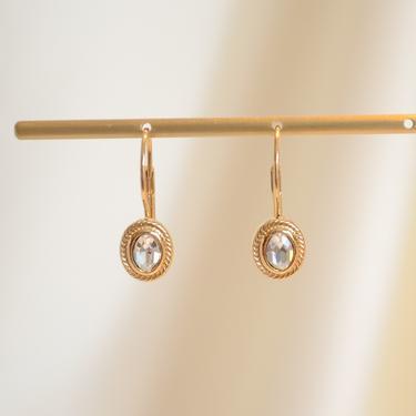 gold dainty cz dangle earring, gold dainty cz earring, gold dainty earring, gold cz dangle, gold cz drop earring, boho earring, gift idea by melangeblancdesigns