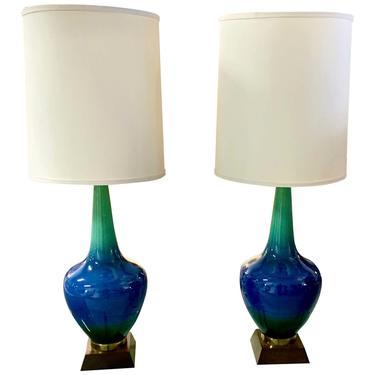 Pair of Vintage Glazed Ceramic Lamps