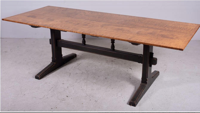 Vintage, Traditional Tiger Maple Trestle Dining Farm Table. by SouliDesign