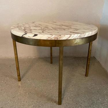 Mid Century Modern Round Marble And Bronze Side Table