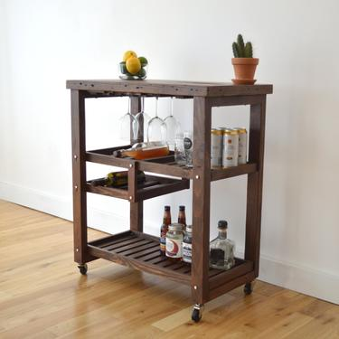 Handcrafted Bar Cart made with 100% Reclaimed Wood - Includes Wine Rack (Bar, Beer, Wine, Eco Friendly) by HerbsFurniture