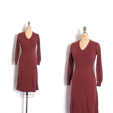 Vintage 1970s Dress / 70s Burgundy Knit Sweater Dress / Maroon ( XS extra small ) by lapoubellevintage