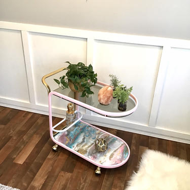 Bar Cart, Trolley Tea Cart Drink Coffee Bar,  Serving Cart Rolling Cart, Pink, Gold, and Resin Cotton Candy Agate, Smoked Glass by VintageCoreReStore