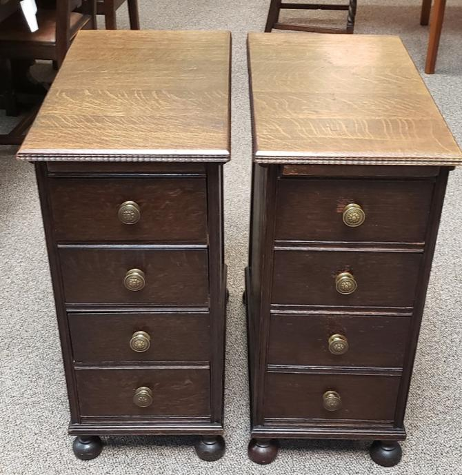 Item #DMC5 Pair of English Oak Nightstands / Cabinets c.1920s