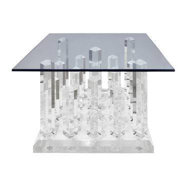 Sculptural Coffee / End Table with Cityscape Lucite Base and Glass Top 1970s