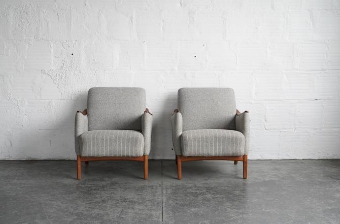 Grey Pinstriped Danish Lounge Chairs (pair)