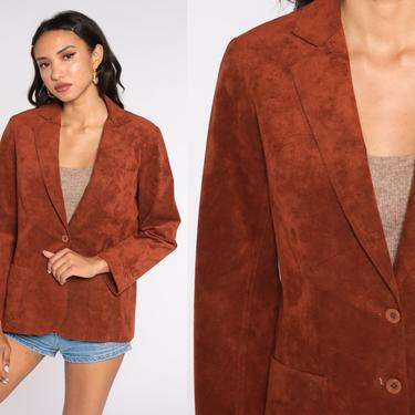 Faux Suede Blazer Jacket 70s 80s Bohemian Brown Button Up Jacket 1970s Boho Hippie Coat Vintage Hipster Collared Vegan Medium by ShopExile