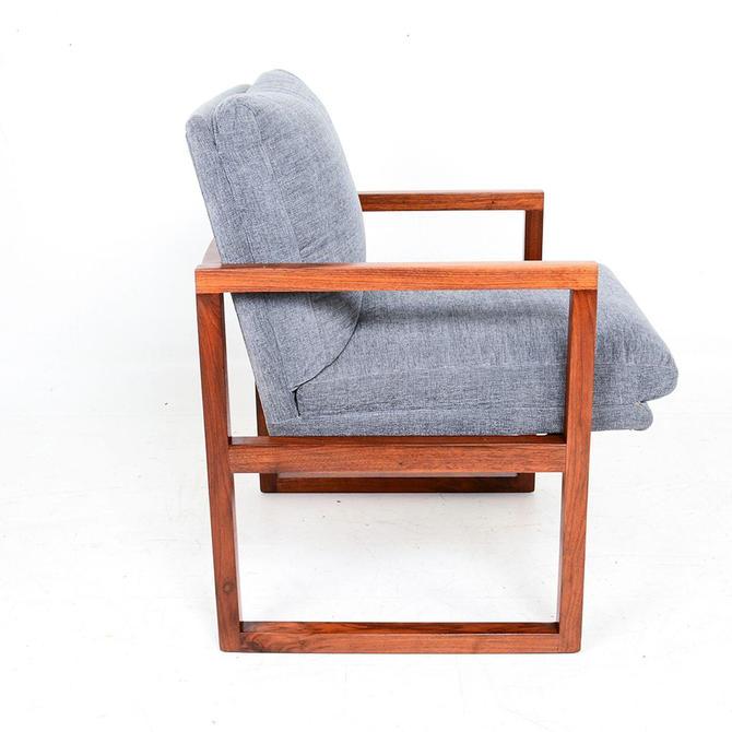 Mid Century Modern Walnut Framed Armchair in Grey Milo Baughman by AMBIANIC