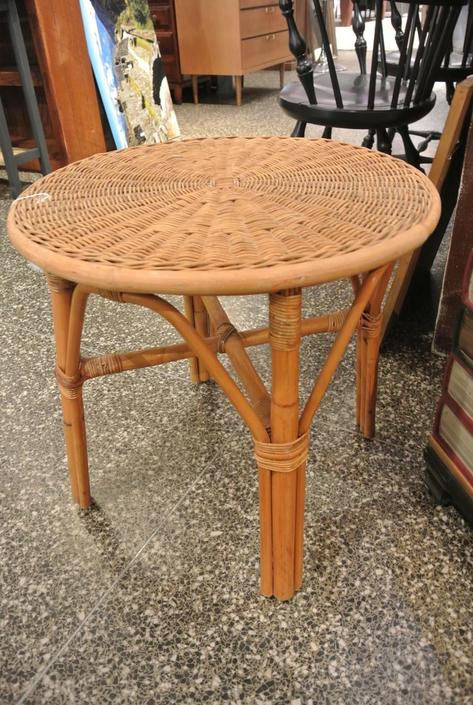 Wicker and rattan side table
