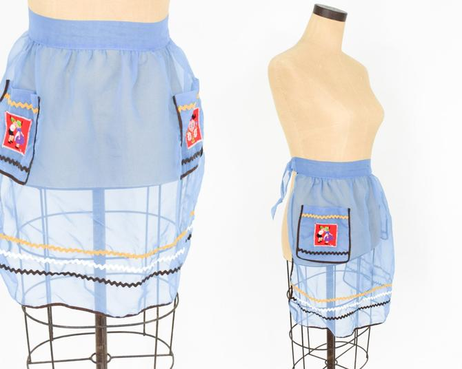 1950s Blue Apron | 50s Blue Sheer Cotton Apron | Hostess gift | Wedding by GlennasVintageShop