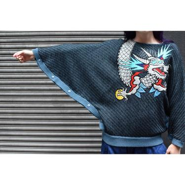1980's | Kansai Yamamoto | Dolman Sleeve Dragon Sweater by LadyofLizard